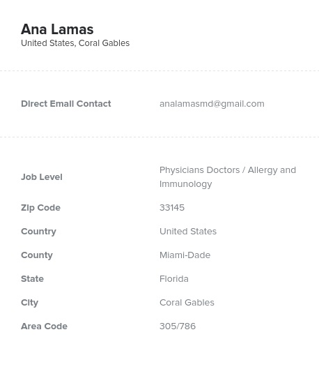 Sample of Allergy and Immunology Email List.