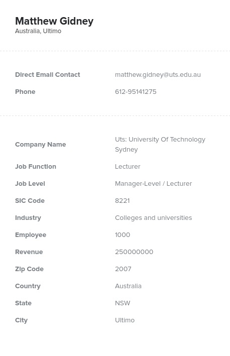 Sample of APAC Email List.