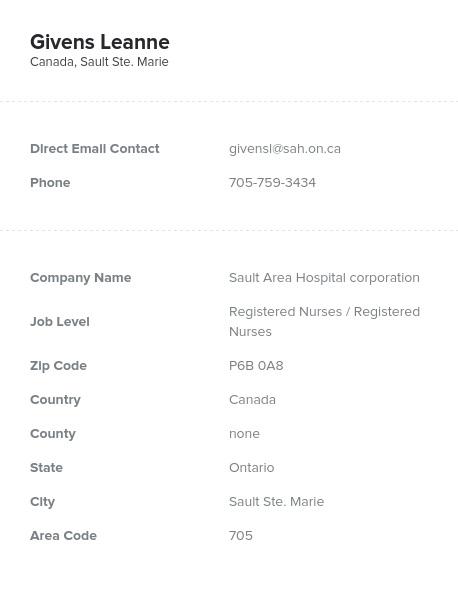 Sample of Canadian Registered Nurses Email List.