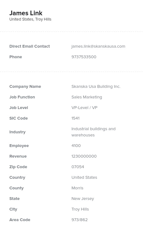 Sample of Chief and VP of Sales Marketing Email List.