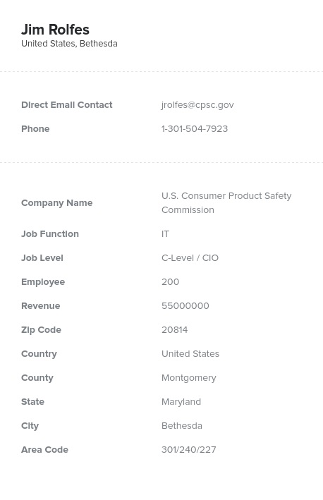 Sample of CIO, CTO Email List.