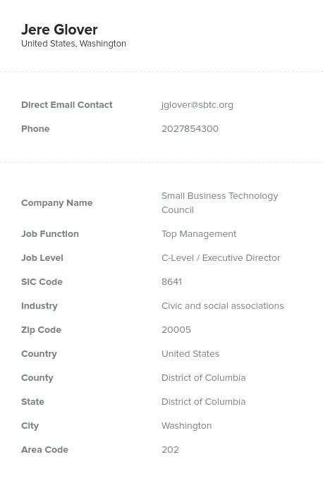 Sample of Civic, Social Association Email List.
