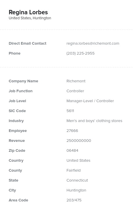 Sample of Controllers Email List.