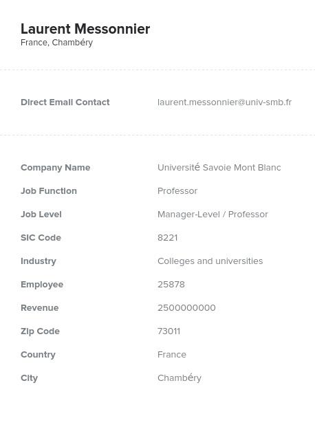 Sample of European Market Email List.
