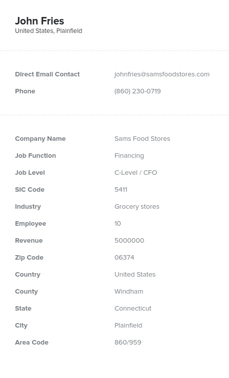 Sample of Finance Directors, Managers Email List.