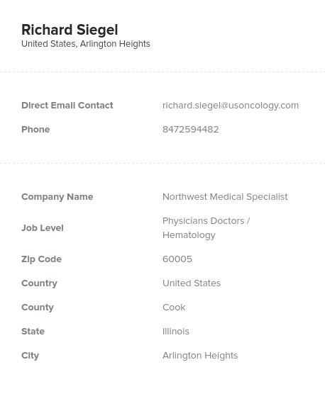 Sample of Hematology Email List.