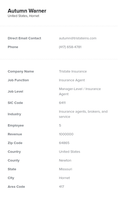 Sample of Insurance Agent Email List.