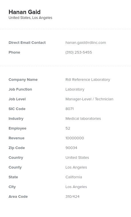 Sample of Laboratory Email List.