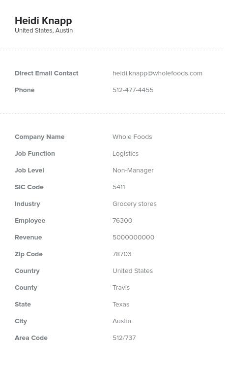 Sample of Logistics Email List.