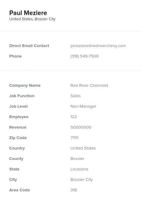 Sample of Louisiana Email List.