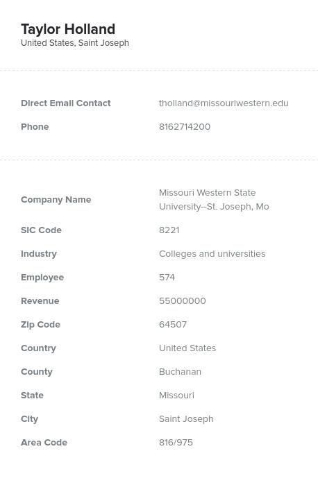 Sample of Missouri Email List.