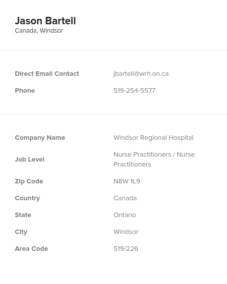 Sample of Nurse Practitioners in CanadaEmail List.