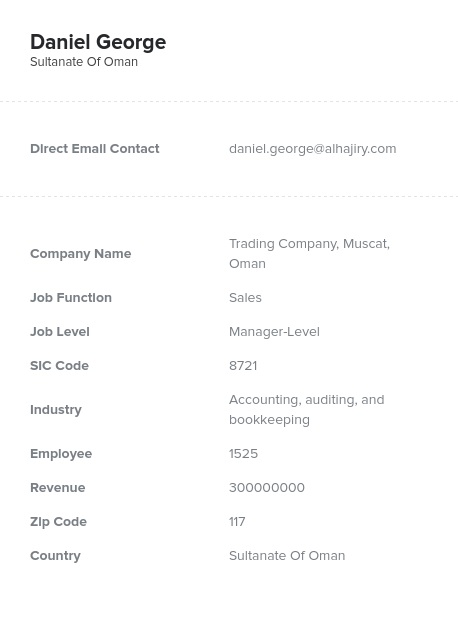 Sample of Oman Email List.