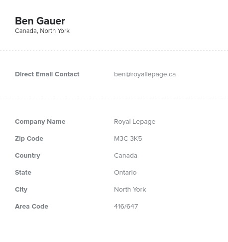 Sample of Ontario Realtors, Real Estate Agents Email List.