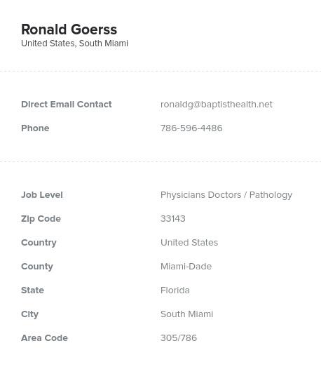 Sample of Pathology Email List.