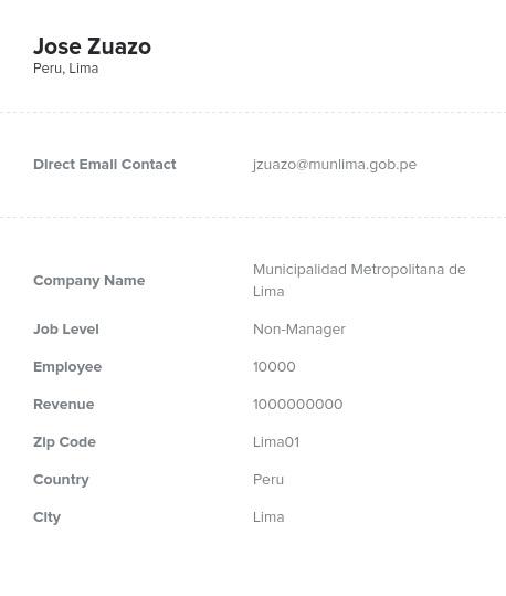 Sample of Peru Email List.