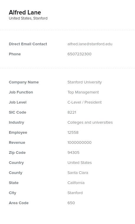 Sample of President Email List.
