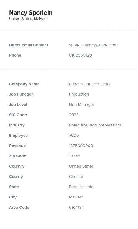 Sample of Production Email List.