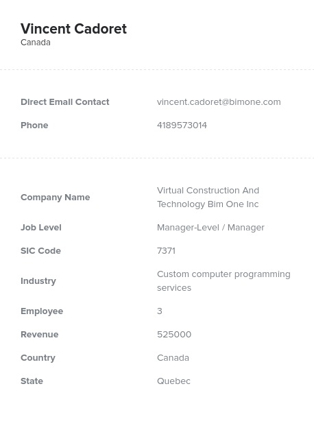 Sample of Quebec Email List.