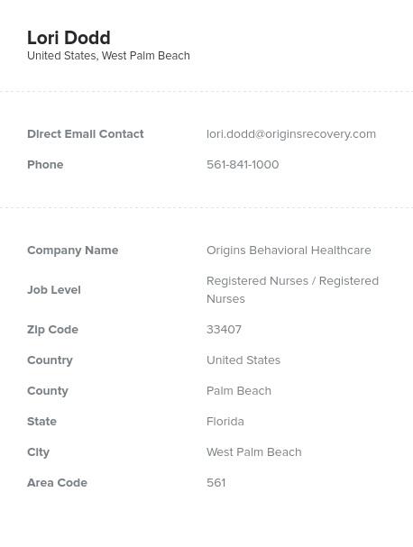 Sample of RegisteredNurses Email List.
