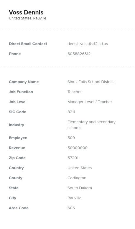 Sample of South Dakota Email List.