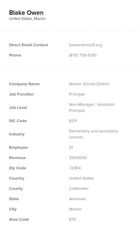 Sample of Teacher, Elementary Teacher, Math , English, K12, Principal Email List.