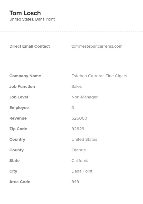 Sample of Tobacco Products Manufacturers Email List.