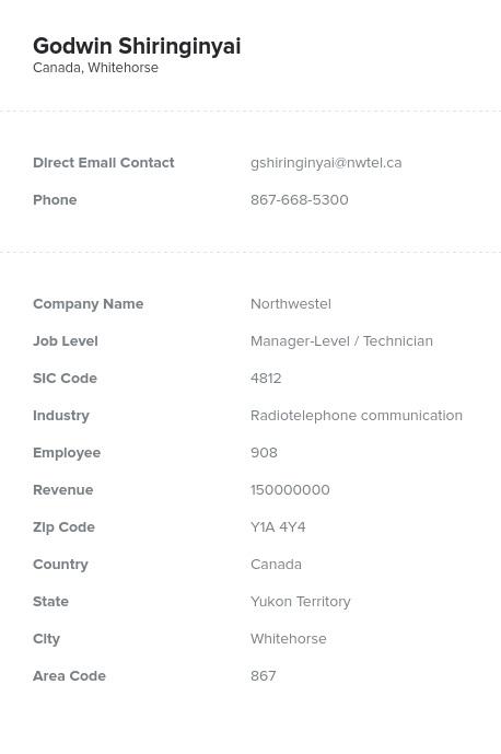Sample of Yukon Email List.